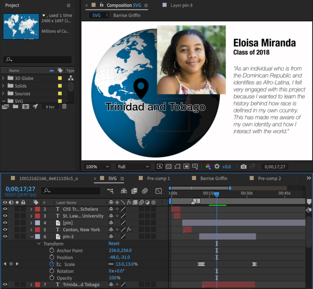 screenshot of Adobe After Effects project